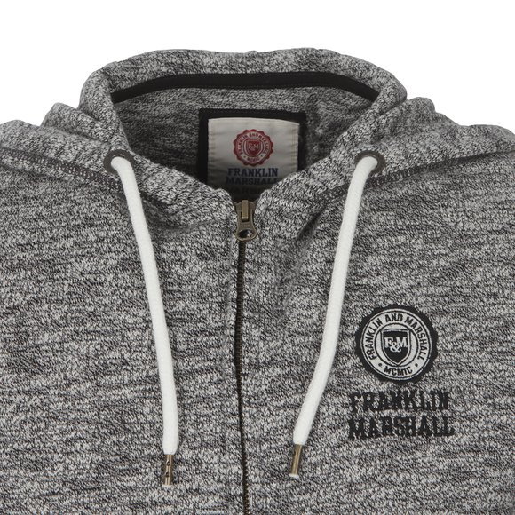 Franklin & Marshall Mens Black Full Front Zip Fleece Hoodie main image