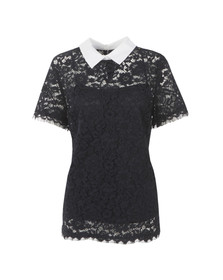 Michael Kors Womens Blue Collared Lace Top