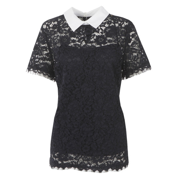 Michael Kors Womens Blue Collared Lace Top main image
