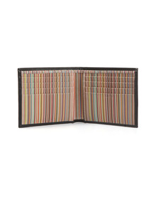 Paul Smith Mens Black Signature Stripe Interior Double Billfold Wallet
