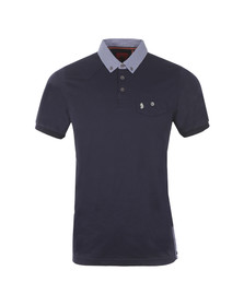 Luke Mens Blue Masons Testimonial Mixed Fabric Polo