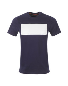 Luke Mens Blue Fury Deboss Detail Printed Crew T-Shirt