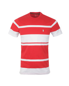 Luke Mens Red Normandy Stripe Crew Tee