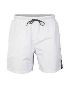 Luke Mens White Barnesy Thigh Length Swimshort