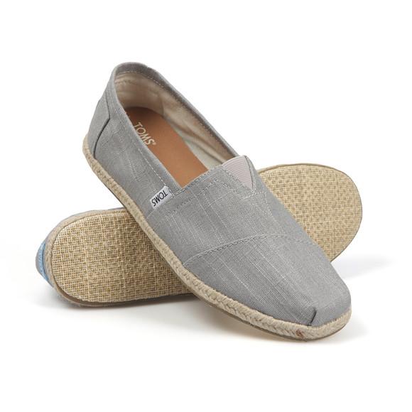Toms Mens Grey Linen Classic Slip On main image
