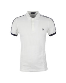 Fred Perry Sportswear Mens White Taped Pique Polo Shirt
