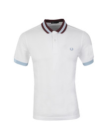Fred Perry Mens White Bomber Stripe Collar Polo Shirt