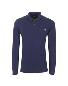 Paul Smith Mens Blue Long Sleeve Tipped Zebra Polo Shirt