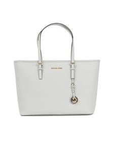 Michael Kors Womens White Jet Set Zip Multifunction Tote