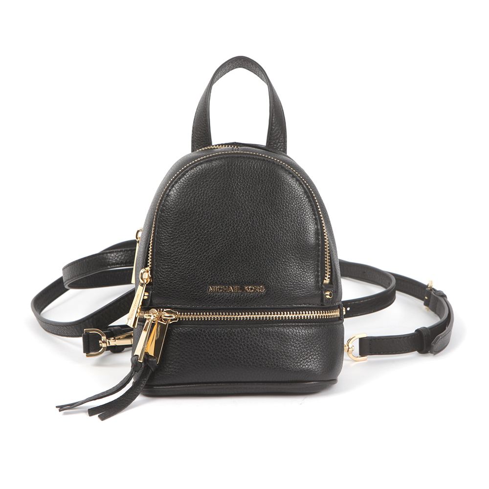c97cd98c33e8 Michael Kors Womens Black Rhea Zip XS Messenger Backpack