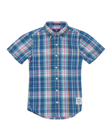 Gant Boys Blue Boys Birdie Madras Check Shirt