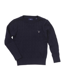 Gant Boys Blue Cotton Cable Crew Jumper