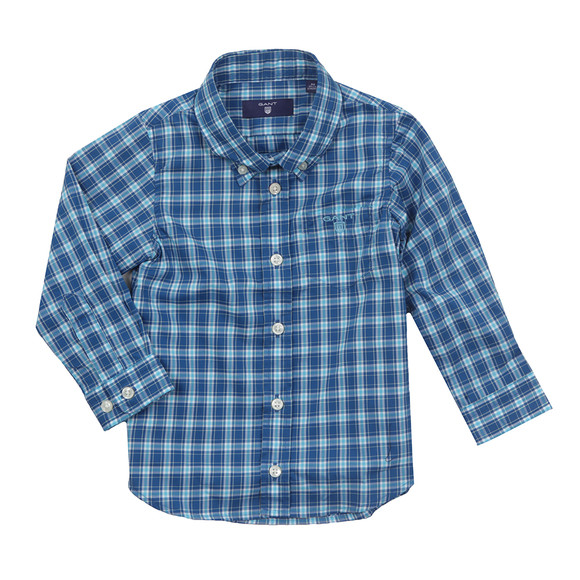 Gant Boys Blue Baby Dogleg Poplin Check Shirt main image