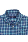 Gant Boys Blue Baby Dogleg Poplin Check Shirt