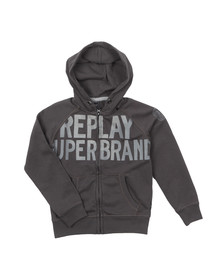 Replay Boys Grey Boys Large Logo Full Zip Hoody