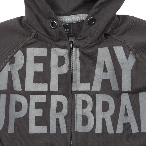 Replay Boys Grey Boys Large Logo Full Zip Hoody main image