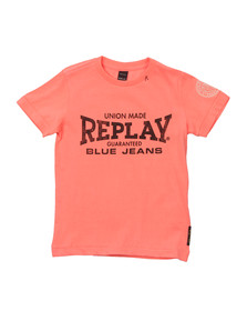 Replay Boys Pink Boys Large Logo T Shirt
