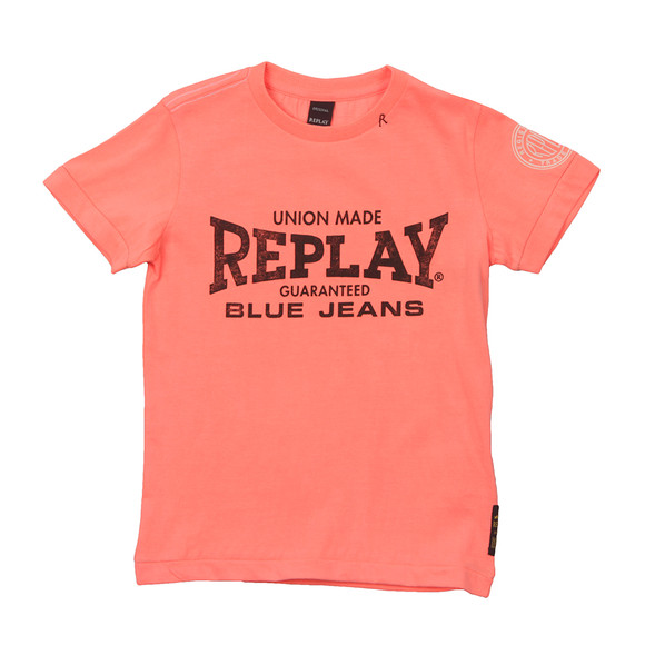 Replay Boys Orange Boys Large Logo T Shirt