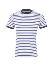 Fred Perry Mens Blue Breton Stripe T-Shirt