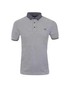 Fred Perry Mens Blue Woven Collar Polo Shirt