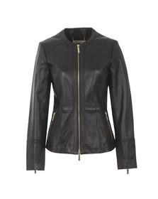 Michael Kors Womens Black Waisted Leather Jacket