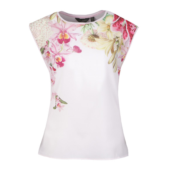 Ted Baker Womens Pink Catlee Encyclopedia Floral Woven T-Shirt main image