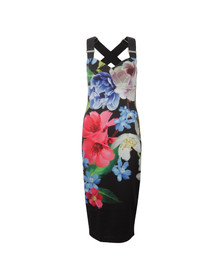 Ted Baker Womens Black Alexie Forget Me Not Floral Strap Dress