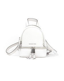 Michael Kors Womens White Rhea Zip XS Messenger Backpack