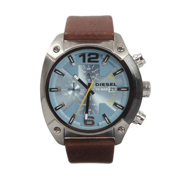 Diesel Mens Brown Overflow Leather Strap Chrono Watch