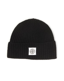 Stone Island Mens Black Knitted Square Badge Hat