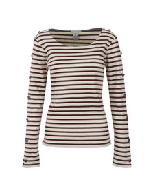 Maison Scotch Womens Red Long Sleeve Breton Top