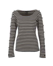 Maison Scotch Womens Black Long Sleeve Breton Top