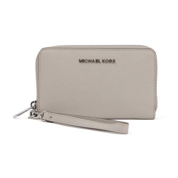 Michael Kors Womens Grey Jet Set Travel Large Coin Multi Function Phone Case main image