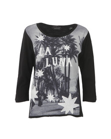 Maison Scotch Womens Black 3/4 Sleeve Photo Print T Shirt