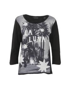 Maison Scotch Womens Black 3/4 Sleeve Photo Print T Shirt