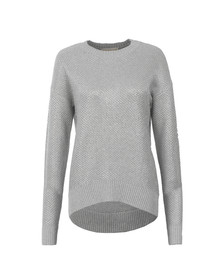 Michael Kors Womens Grey Metallic Chainmail Sweater