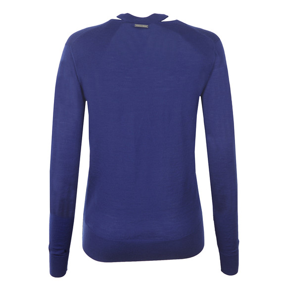 Michael Kors Womens Blue Slash V Neck Sweater main image