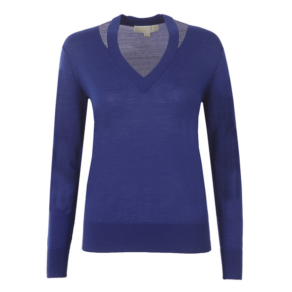 Michael Kors Womens Blue Slash V Neck Sweater