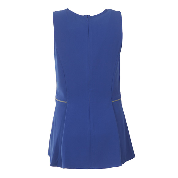 Michael Kors Womens Blue Zipper Waist Top