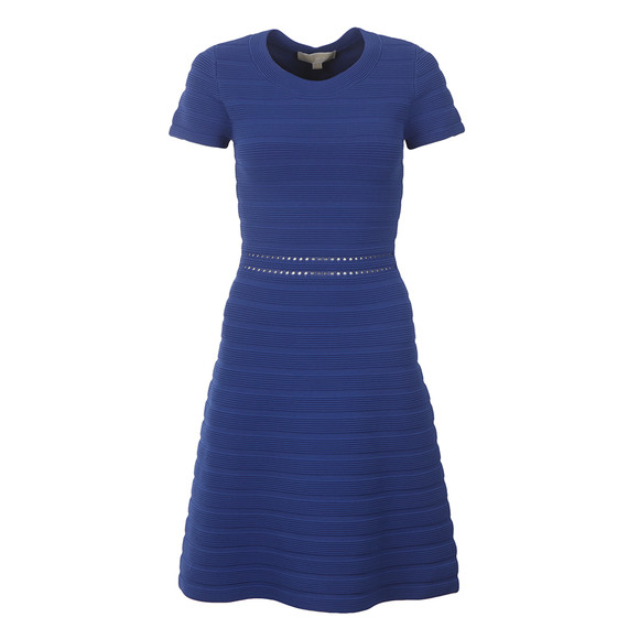 Michael Kors Womens Blue Ottoman Crewn Neck Dress main image