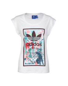 Adidas Originals Womens White Rolled Sleeve T Shirt