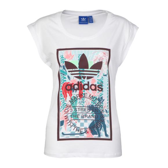 Adidas Originals Womens White Rolled Sleeve T Shirt main image