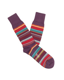 Paul Smith Mens Purple Val Stripe Sock