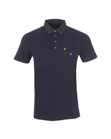 Lyle and Scott Mens Blue S/S Check Woven Collar Polo Shirt