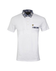 Lyle and Scott Mens White S/S Check Woven Collar Polo Shirt