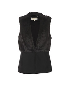 Michael Kors Womens Black Fitted Faux Fur Vest