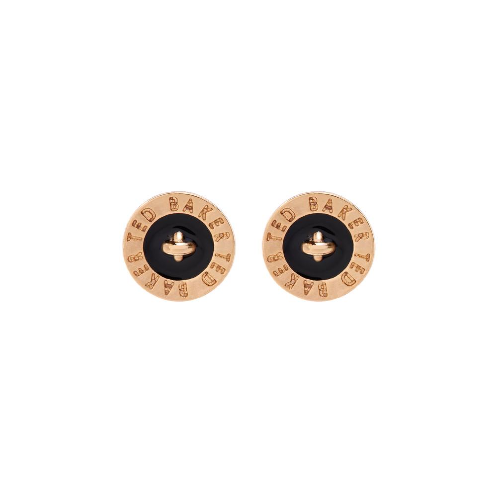 434810b5ba616d Ted Baker Womens Gold Tempany Enamel Logo Button Stud Earrings