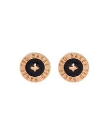 Ted Baker Womens Gold Tempany Enamel Logo Button Stud Earrings