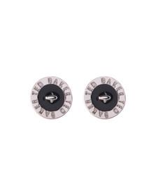 Ted Baker Womens Silver Tempany Enamel Logo Button Stud Earrings