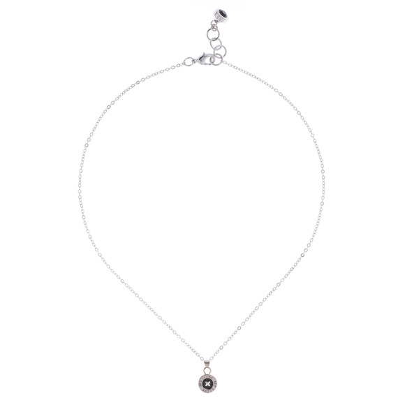 Ted Baker Womens Silver Tella Enamel Button Pendant Necklace main image